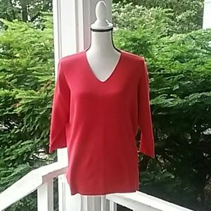 Dress Barn Red V Neck Knit Top Size 14/16